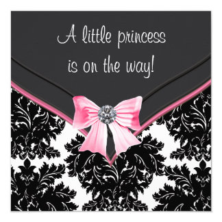 Schwarze Damast-Rosa-Bogen-Prinzessin Babyparty Quadratische 13,3 Cm Einladungskarte