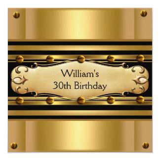 Schwarze der Geburtstags-Party-Gold der Männer Quadratische 13,3 Cm Einladungskarte