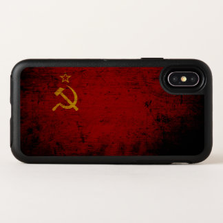 Schwarze die Schmutz-Sowjetunions-Flagge OtterBox Symmetry iPhone X Hülle