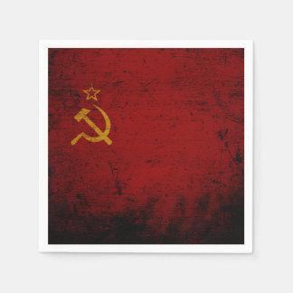 Schwarze die Schmutz-Sowjetunions-Flagge Papierservietten