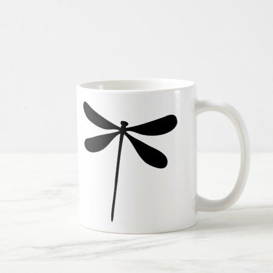 schwarze Drachefliegenikone Tasse