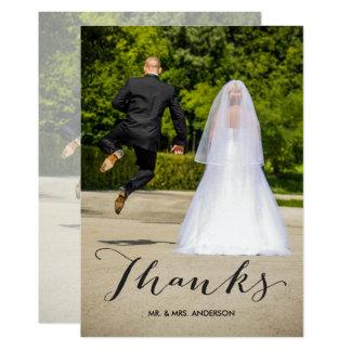 Schwarze Foto-Hochzeit der Kalligraphie-| danken Karte