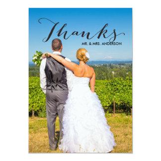 Schwarze Foto-Hochzeit des Skript-| danken Ihnen Karte