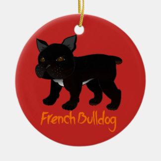 Schwarze französische Bulldogge Keramik Ornament