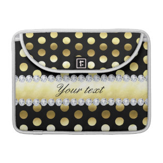 Schwarze Goldfolien-Tupfen-Diamanten MacBook Pro Sleeve