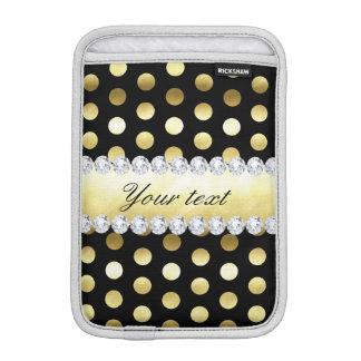 Schwarze Goldfolien-Tupfen-Diamanten Sleeve Für iPad Mini