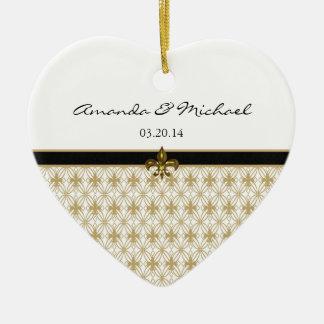 Schwarze GoldLilien-Muster-Hochzeit Keramik Herz-Ornament