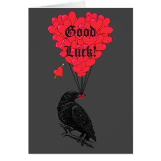 Schwarze gotische Krähe und romantisches Herz-viel Mitteilungskarte
