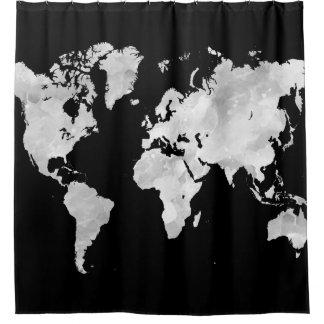 Schwarze graue Weltkarte des Entwurfs-70 Duschvorhang