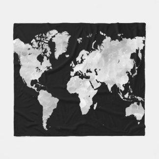 Schwarze graue Weltkarte des Entwurfs 70 Fleecedecke
