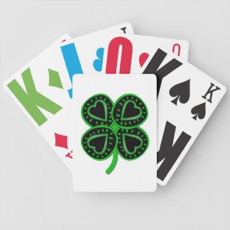 Schwarze grüne Spielkarten Klee-Herz-St. Patty W