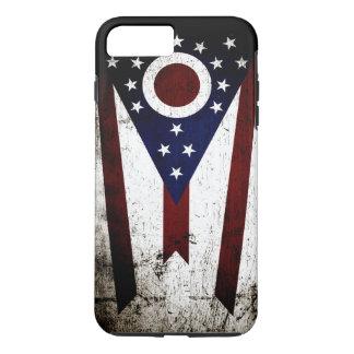 Schwarze Grunge-Ohio-Staats-Flagge iPhone 8 Plus/7 Plus Hülle