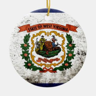 Schwarze Grunge-West- VirginiaStaats-Flagge Keramik Ornament