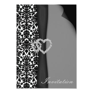 schwarze Hochzeitseinladung 12,7 X 17,8 Cm Einladungskarte