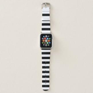 Schwarze horizontale Streifen Apple Watch Armband