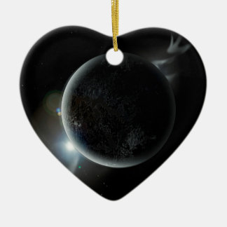 schwarze Illustration des Planeten 3d im Universum Keramik Ornament