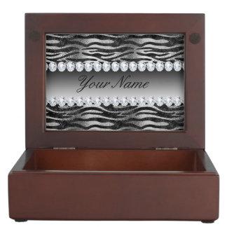 Schwarze Imitat-Foliezebra-Streifen auf Silber Erinnerungsdose