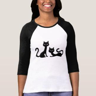 Schwarze Kätzchen-Damen 3/4 HülseRaglan T-Shirt