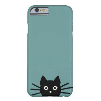 Schwarze Katze auf Blau (Farbe ist kundengerecht) Barely There iPhone 6 Hülle