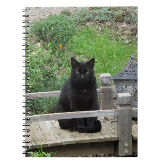 Schwarze Katze auf Brücken-Notizbuch Spiral Notizblock