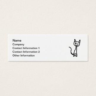 Schwarze Katze, blinzelnd. Weißer Hintergrund Mini Visitenkarte