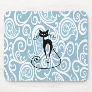 Schwarze Katze des entzückenden netten Spaßes Mousepads