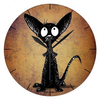 Schwarze Katze des niedlichen lustigen Cartoon Große Wanduhr