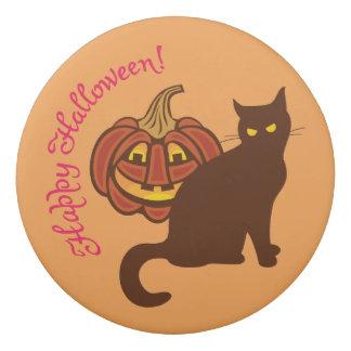 Schwarze Katze feiert Halloween Radiergummi 1