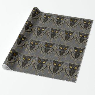 Schwarze Katze Geschenkpapierrolle