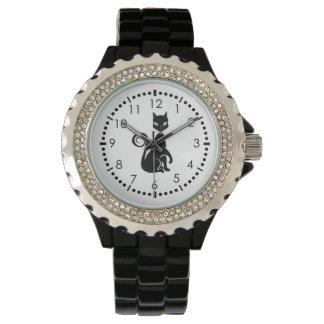 Schwarze Katze gotisch Uhr