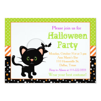 Schwarze Katze Halloweens und Vollmond Karte