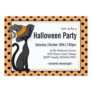 Schwarze Katze im Hexe-Hut-Halloween-Party 12,7 X 17,8 Cm Einladungskarte