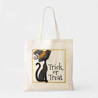 Schwarze Katze im Hexe-Hut-Trick oder der Leckerei Tragetasche