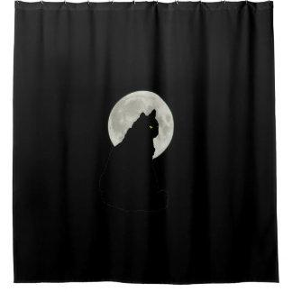 Schwarze Katze im Mondschein Duschvorhang