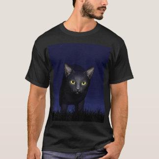 Schwarze Katze in der Nacht T-Shirt