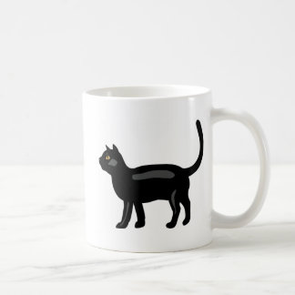 Schwarze Katze mit gelben Augen Kaffeetasse