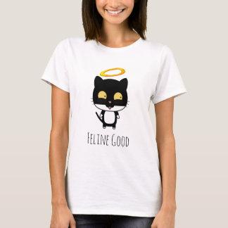 Schwarze Katze mit goldener Halo-niedlicher T-Shirt