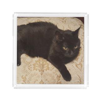 Schwarze Katze Roxie Acryl Tablett