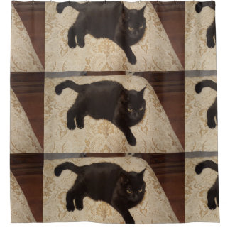 Schwarze Katze Roxie Duschvorhang