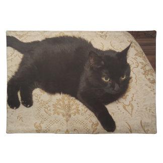 Schwarze Katze Roxie Stofftischset