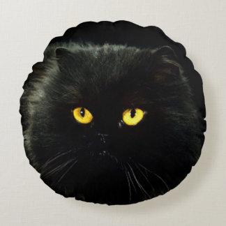 Schwarze Katze Rundes Kissen