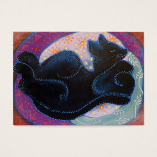 Schwarze Katze. Schlafen Visitenkarte