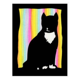 Schwarze Katze Sihouette Postkarte
