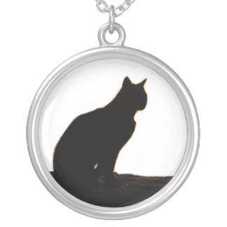 Schwarze Katze siloutte Halskette Mit Rundem Anhänger