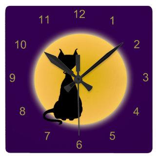 Schwarze Katze u. gelbe Mond-Halloween-Kunst Quadratische Wanduhr