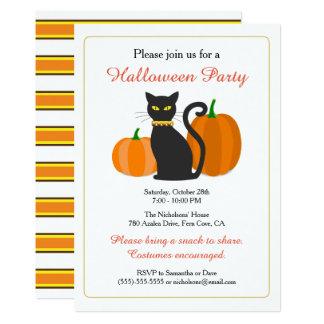 Schwarze Katze u. Kürbis-Halloween-Party Karte