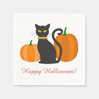 Schwarze Katze u. Kürbis-Halloween-Party Papierserviette