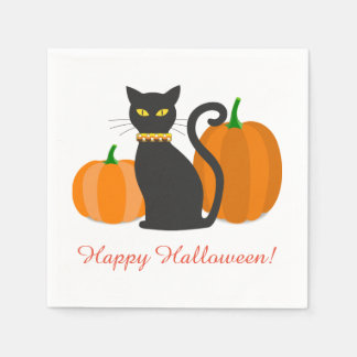 Schwarze Katze u. Kürbis-Halloween-Party Serviette