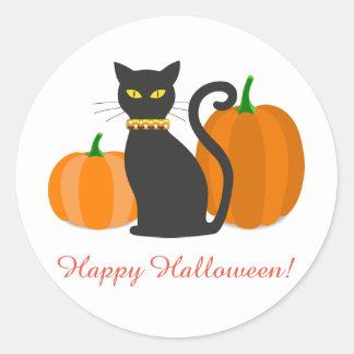 Schwarze Katze u. Kürbise Halloween Runder Aufkleber