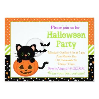 Schwarze Katze und Kürbis Halloweens Karte